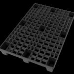 Top Side 3D Render of Black Nestable Plastic Pallet